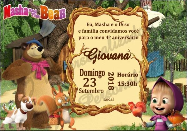 Masha e o urso convite pequeno 4 no elo7