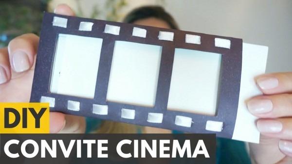 Convite de aniversário tema cinema