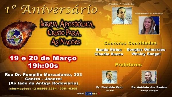 Convite para o 1º aniversário da igreja cristo para as nações