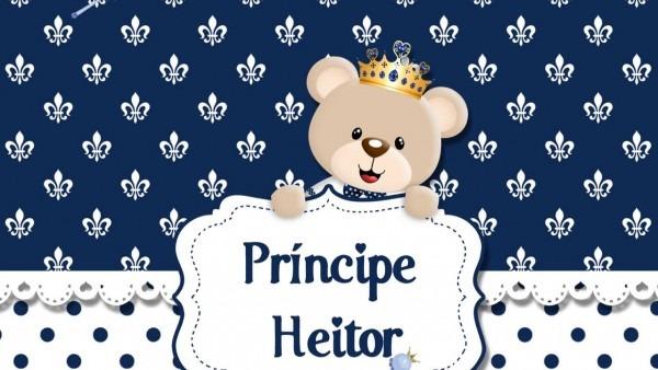 Convite animado chá de bebê ursinho príncipe do heitor