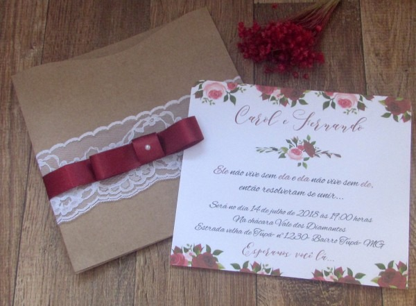 Convite de casamento rústico marsala