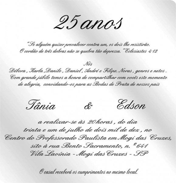 Modelo de texto para convite elegante modelos convites bodas prata