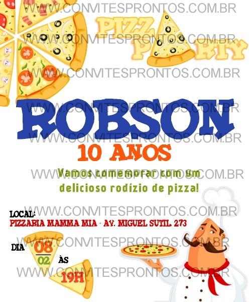 Convite de aniversÁrio tema pizzaria pizza party