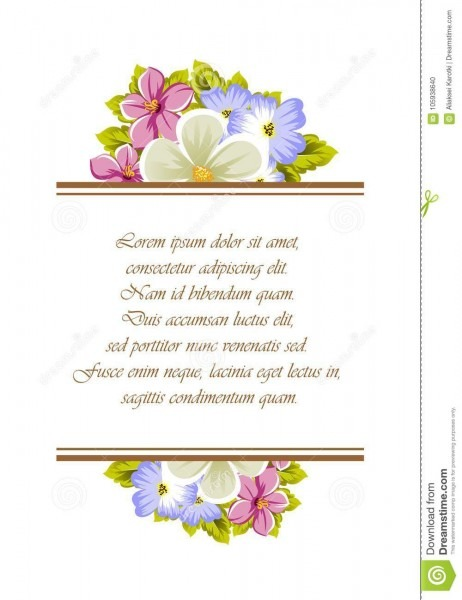 Quadro de algumas flores para o projeto dos cartões, convites