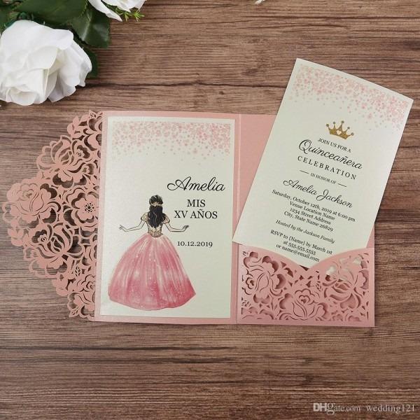 Como montar um convite de casamento rosa romântico rosa corte a
