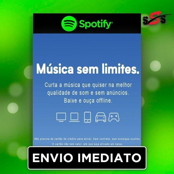 Spotify premium cartão gift card key presente 1 mês serial