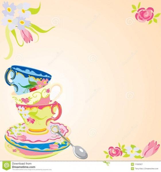 Tea party invitation  stock vector  illustration of spoon