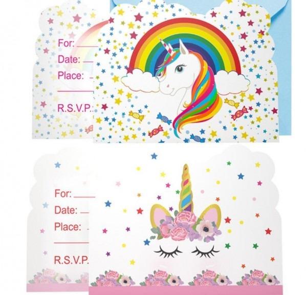Compre unicórnio meninas feliz aniversário cartão de festa de