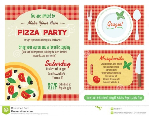 Vector make your own pizza party invitation set illustration