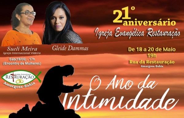 Convite  21º aniversÁrio da igreja evangÉlica restauraÇÃo em