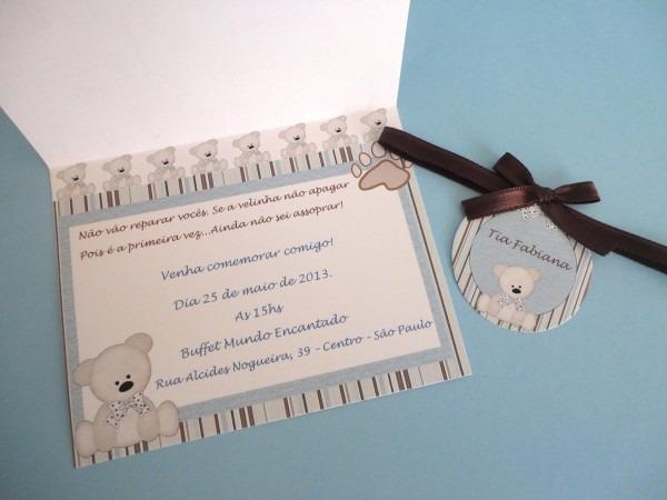 03 convites chá de bebê simples safari menino ursinho baby