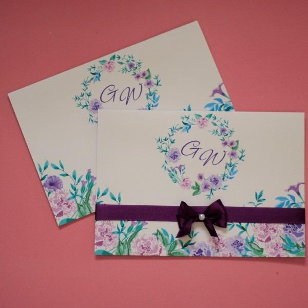 100 convite de casamento lilás diferente barato moderno roxo