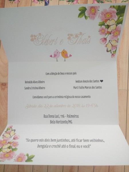 100 convites de casamento + tag + convite individual