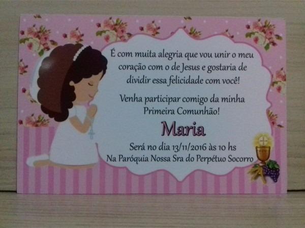 100 convites personalizados comunhão menina