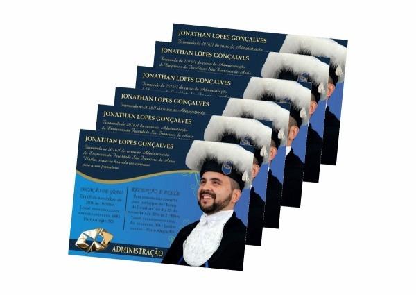 100 convites personalizados para formatura + envelopes