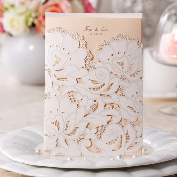 100pcs white laser cut wedding invitations vertical floral