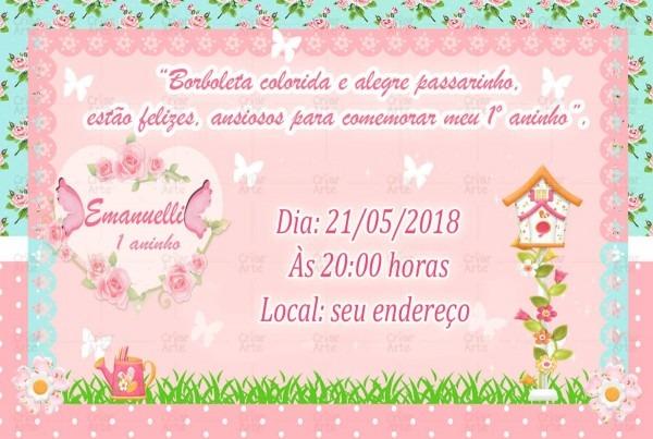 10 convite infantil jardim encantado borboleta flores!