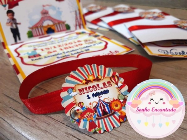 10 convites infantil tema circo vintage