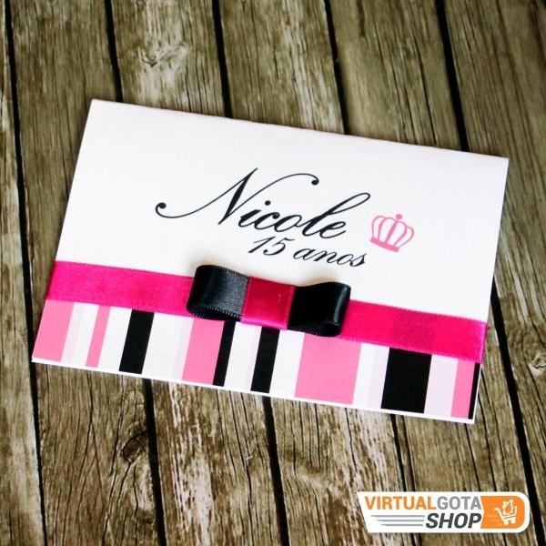 110 convites de aniversário 15 anos debutante rosa com preto