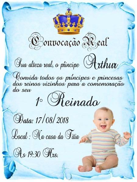 120 convites pergaminho realeza azul com foto