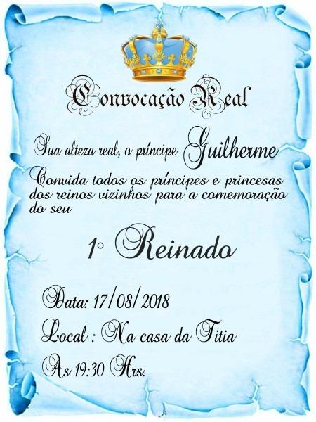 200 convite pergaminho realeza azul (menino)