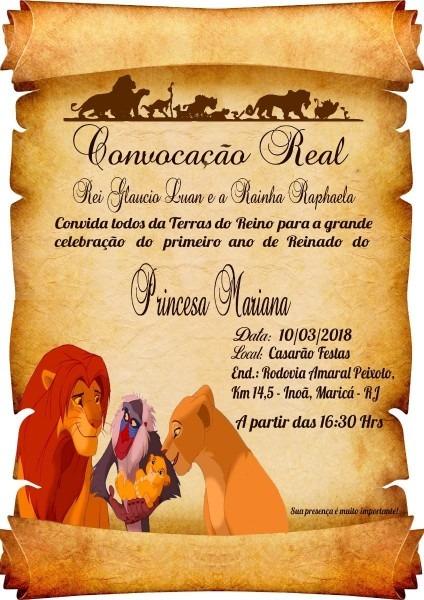 20 convite pergaminho rei leão