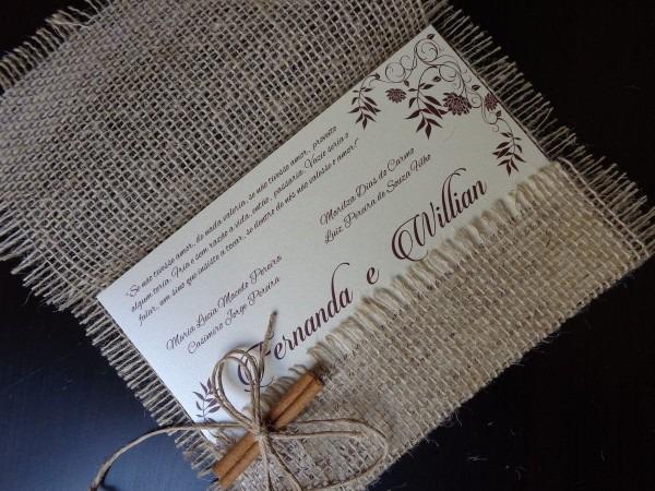 Convite de casamento rústico com juta e renda descriÇÃo  envelope
