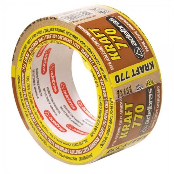 Fita adesiva papel kraft sleeve 48x50m 770 adelbras