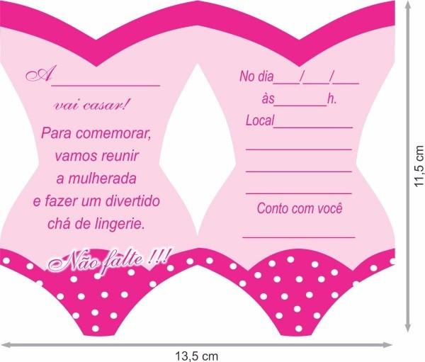 30 convites chá de lingerie + 1 jogo de plaquinhas