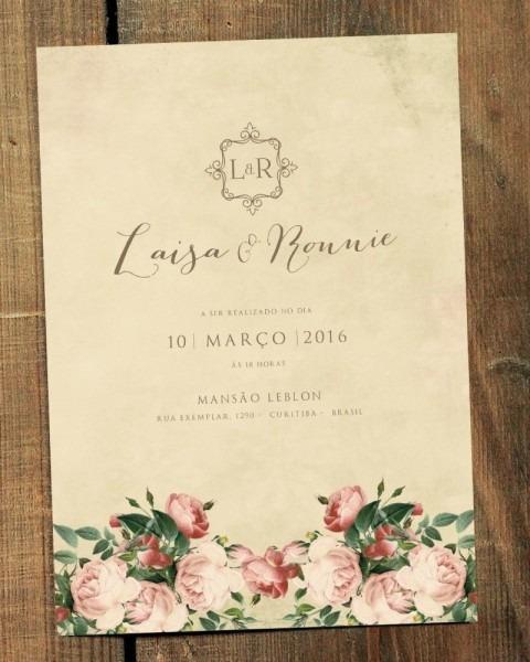Arte para convite de casamento vintage flowers 2