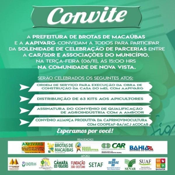 Convite – solenidade de parceria entre car sdr e associações