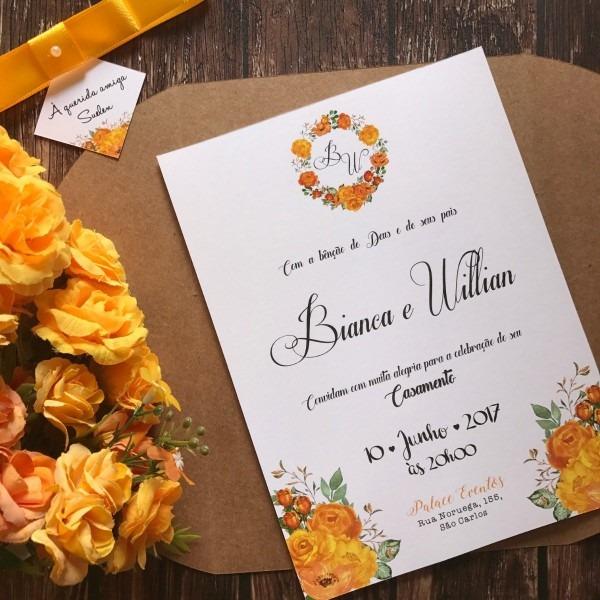 50 convite de casamento rústico floral amarelo