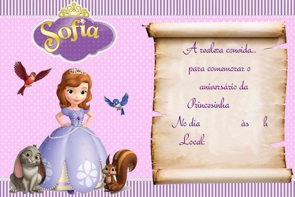 50 convite princesa sofia em papel fotografico