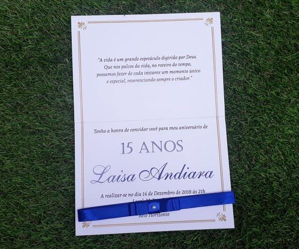 50 convites 15 anos azul royal e dourado, papel alta alvura
