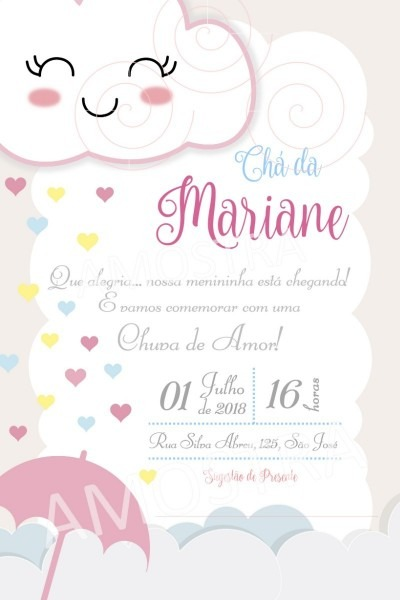 50 convites chá de bebê chuva de amor