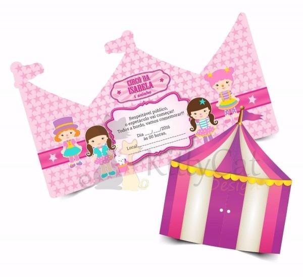 50 convites circo rosa infantil (15x13cm)