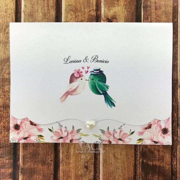55 convites de casamento casal passarinhos