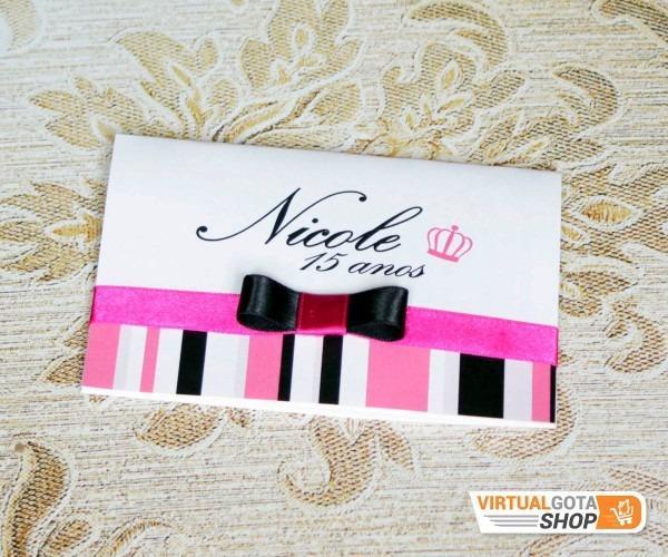 5 convites de 15 anos laço rosa preto pink listras debutante