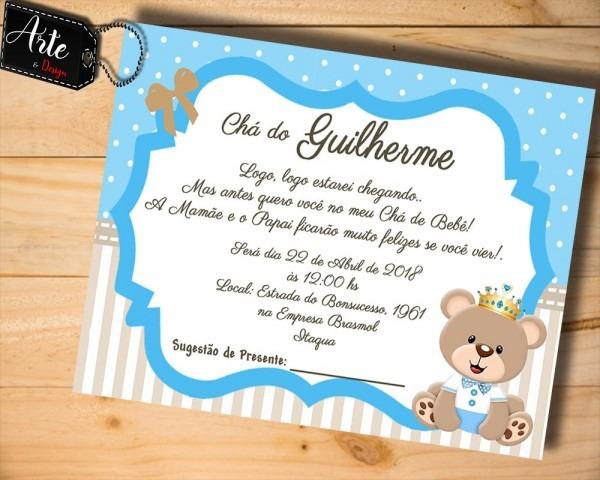 60 convites personalizados chá de bebê urso rei m01