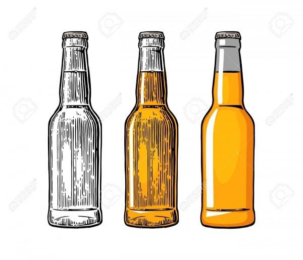 Garrafa de cerveja  desenho em três estilos gráficos  gravura