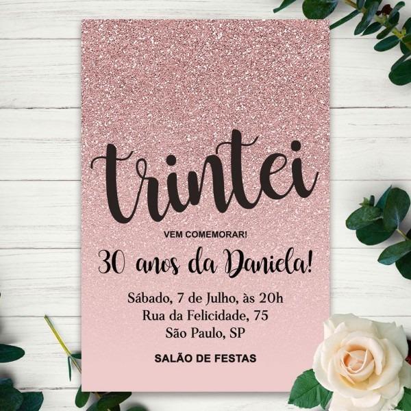 Convite digital tema preto rose gold disponível na cs store no