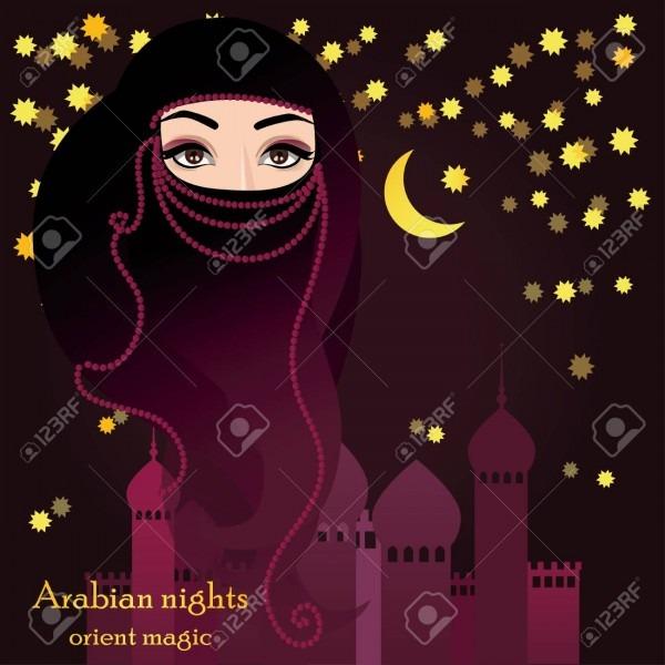 Mulher árabe no véu muçulmano