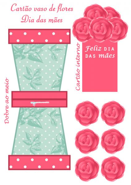 Montando minha festa  cartão vaso de flores para o dia das mães