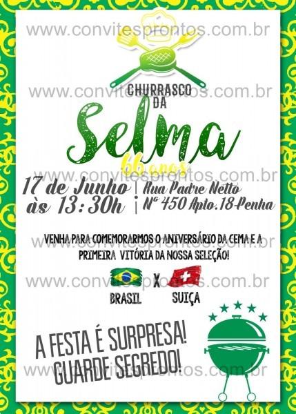 Churrasco aniversário convite copa do mundo brasil digital tema