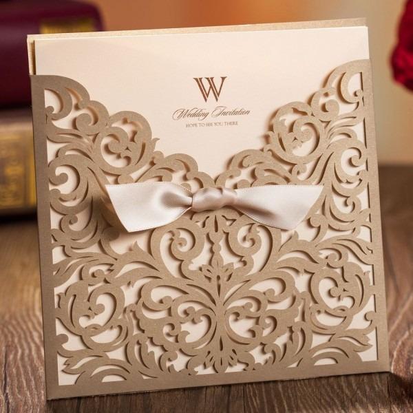 Elegante estilo europeo vintage flores de oro recorte lacer boda