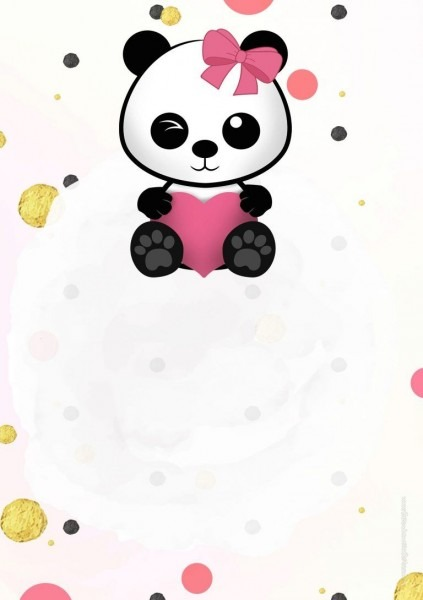 Convite panda menina