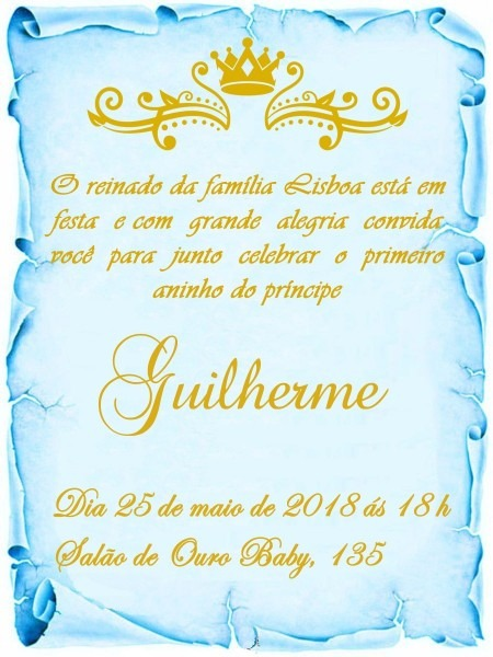 80 convite pergaminho realeza azul (menino)