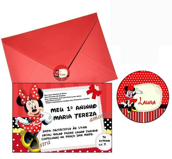 85 convites da minnie vermelha tamanho 10x15