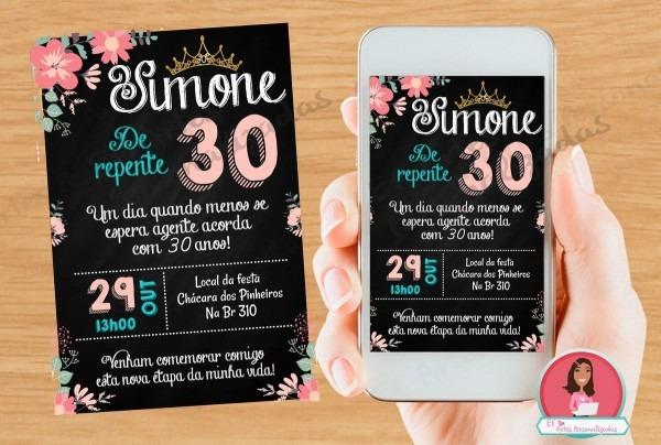 Convite 30 40 50 60 anos digital chalkboard refere