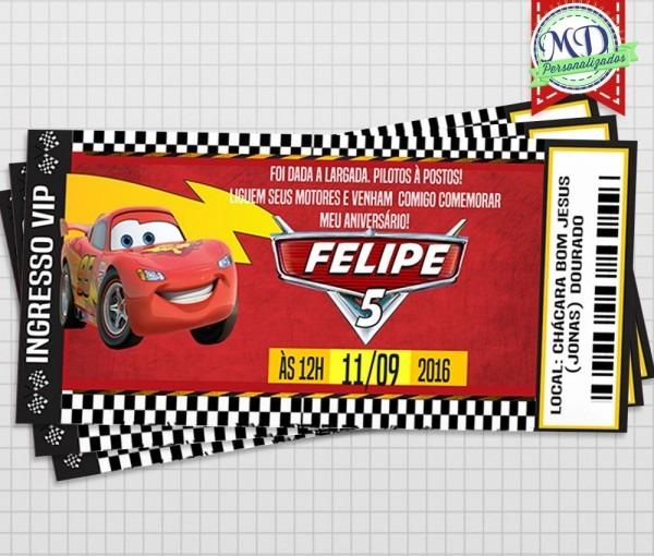 Produto  convite ingresso carros   convites impressos em papel